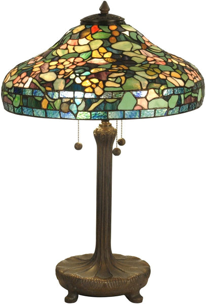 Dale Tiffany 3-Light Tiffany Table Lamp Antique Verde TT90428