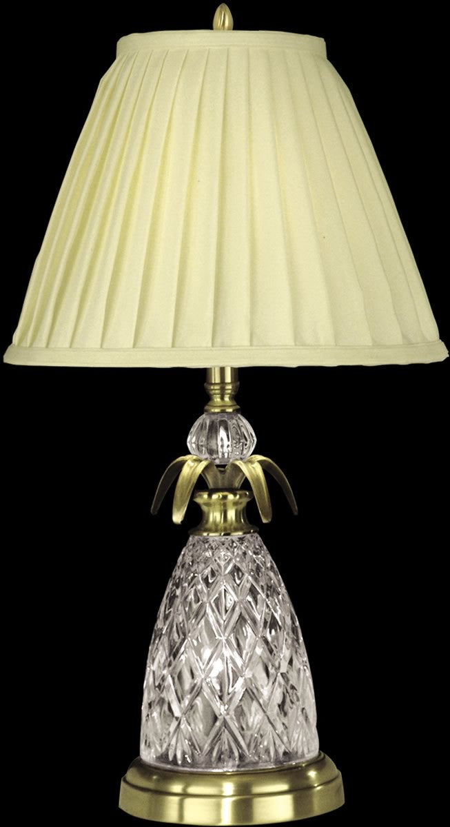"25""H 2-Light 3-Way Glass/Crystal Table Lamp with Nite Light Antique Brass"