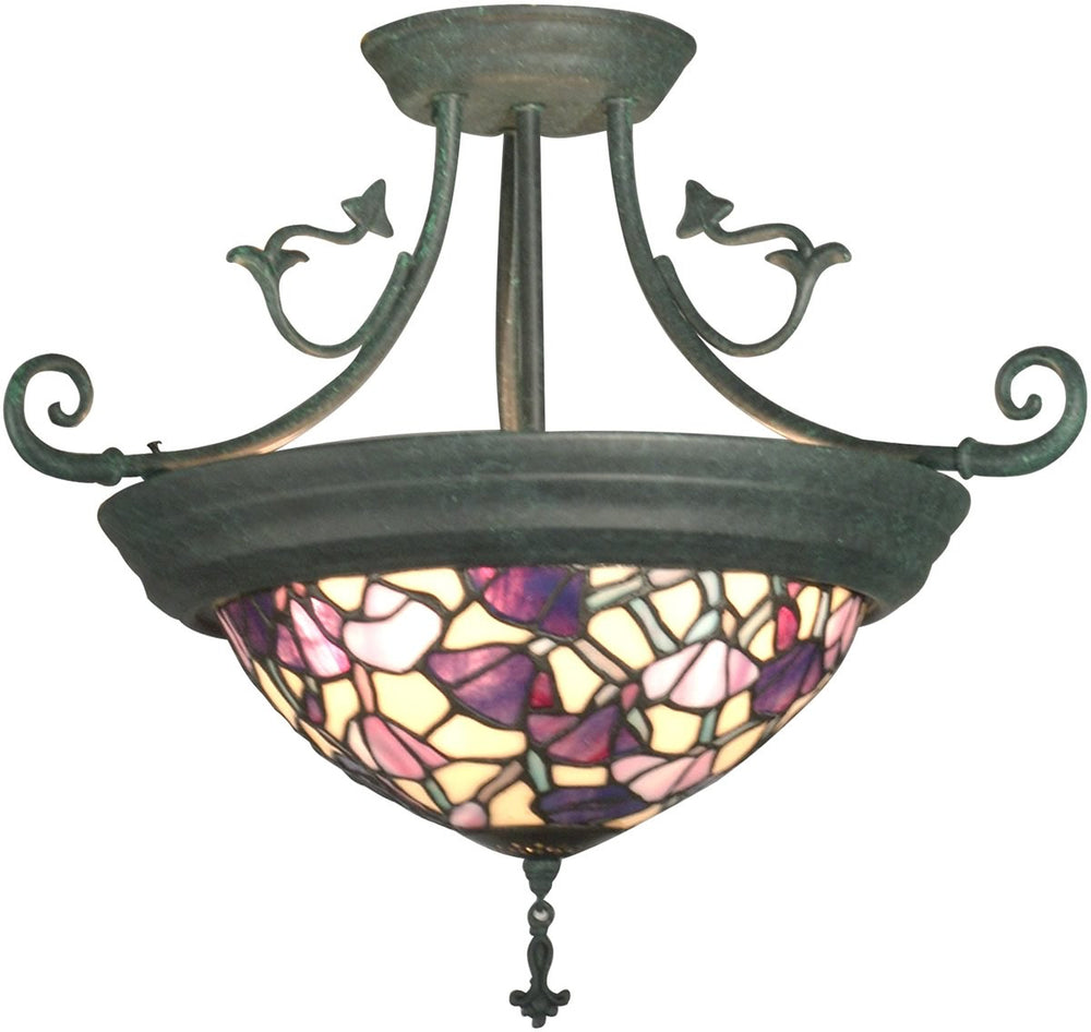 "17""W 4-Light Tiffany Hanging Fixture Verdigris"