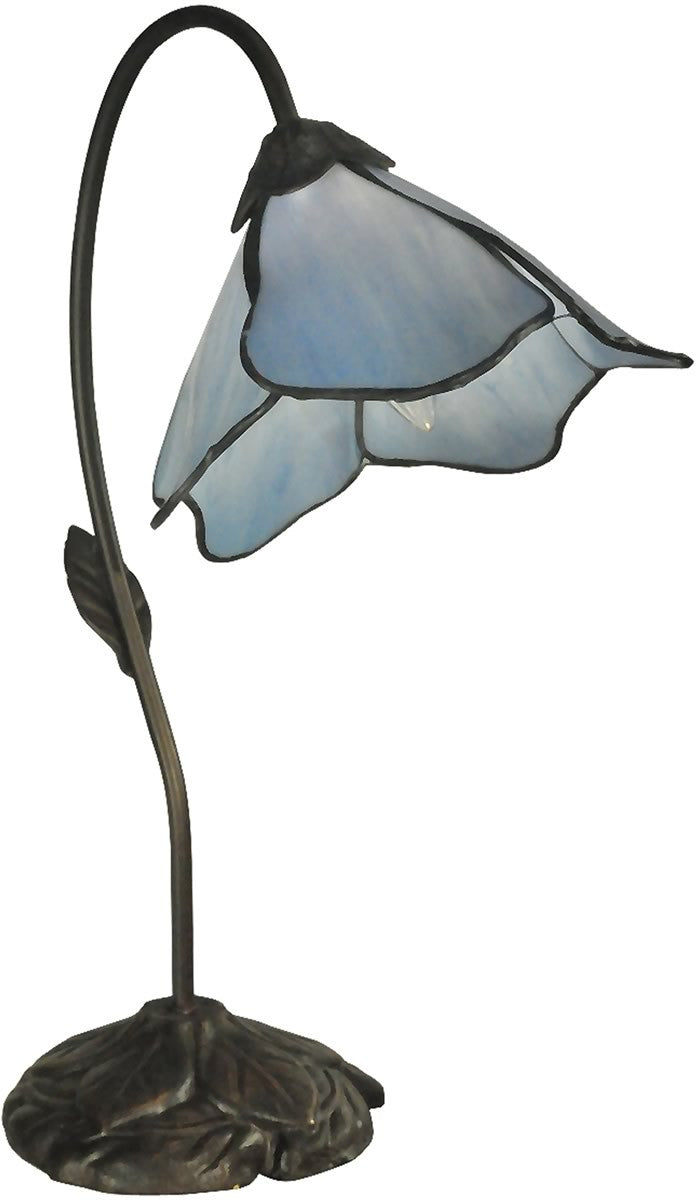 "19""h Poelking Blue Lily 1-Light Table Lamp Dark Antique Bronze"