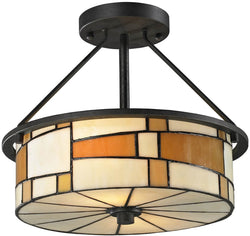 "13""w Portola 2-Light Semi Flush Fixture Matte Coffee Black"