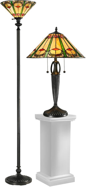 Dale Tiffany Quill 24 3-Light Table Lamp And 71.5 Floor Lamp Set Antique Bronze TC12340