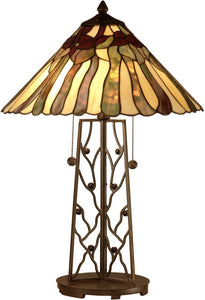 Dale Tiffany 2-Light Tiffany Table Lamp Dark Antique Bronze TT10597
