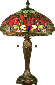 Dale Tiffany Red Dragonfly Tiffany Table Lamp Antique Bronze TT15085