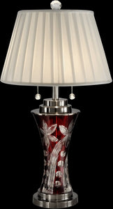 Dale Tiffany Red Floral Crystal Table Lamp Antique Bronze GT13265