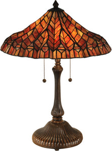 Red Lotus 2-Light Table Lamp Antique Bronze