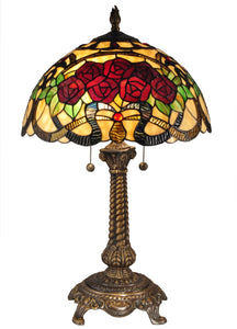 Dale Tiffany Red Rose Tiffany Table Lamp Antique Bronze TT15099
