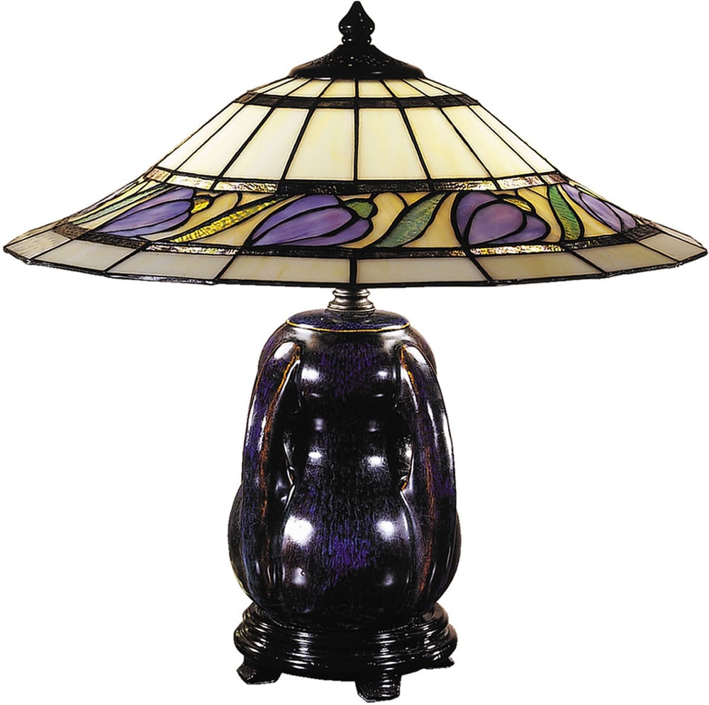 "18""h 2-Light Tiffany Table Lamp Blue/Purple Glaze"