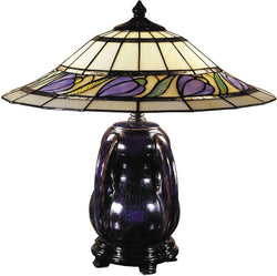 Dale Tiffany 2-Light Tiffany Table Lamp Blue/Purple Glaze TT100507