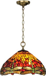 Dale Tiffany Reves Dragonfly 1-Light Pendant Antique Brass TH12270