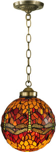 Dale Tiffany Reves Dragonfly 1-Light Pendant Antique Brass TH12271