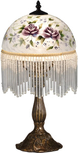 Rose Glass Accent Lamp Antique Bronze