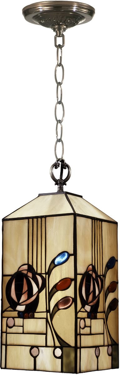 "7""W 1-Light Tiffany Mini Pendant Antique Brass"