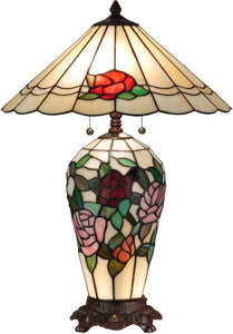 Dale Tiffany Rose Lighted Tiffany Table Lamp Antique Bronze TT13102