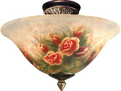 Dale Tiffany Rose Semi-Flushmount Antique Brass 100843LTF