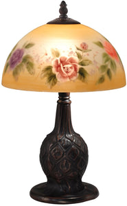 Roses Glass Accent Lamp Antique Bronze