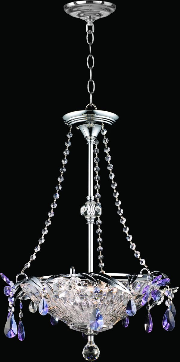 "15""w 3-Light Glass Pendant Polished Chrome"