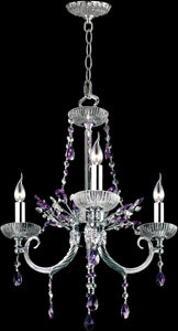 "19""w 3-Light Glass Chandelier Polished Chrome"