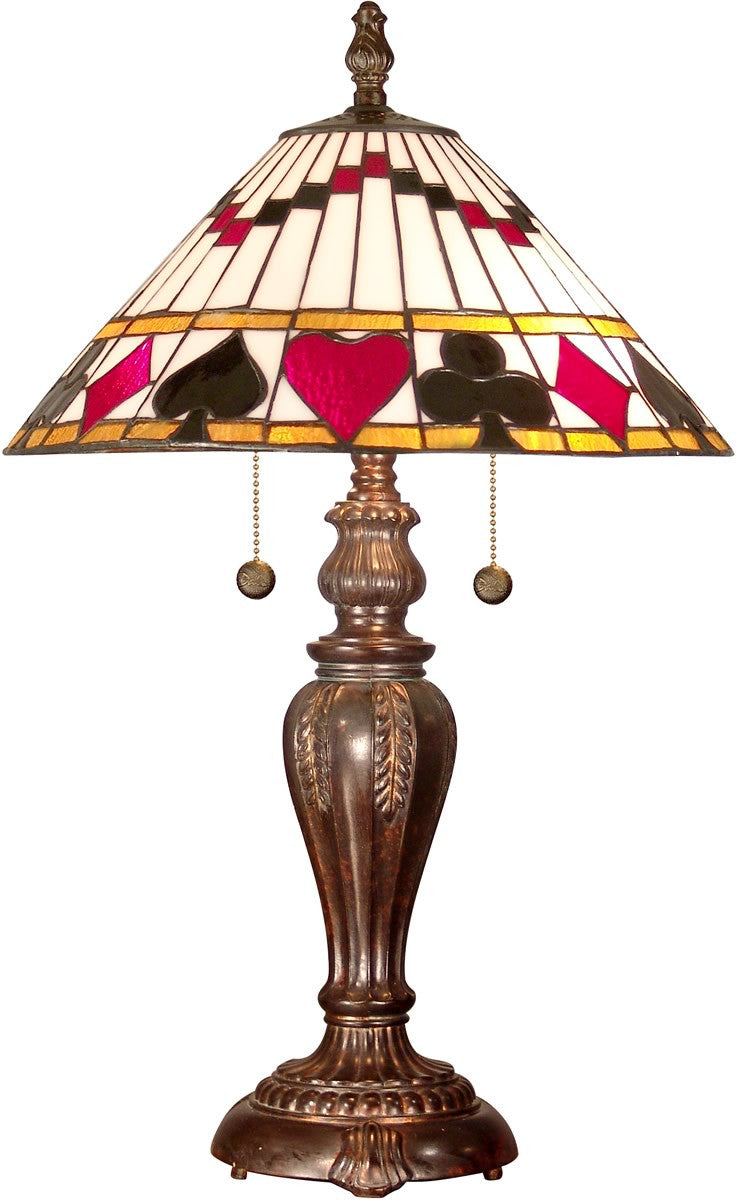 "27""h 2-Light Tiffany Table Lamp Fieldstone"