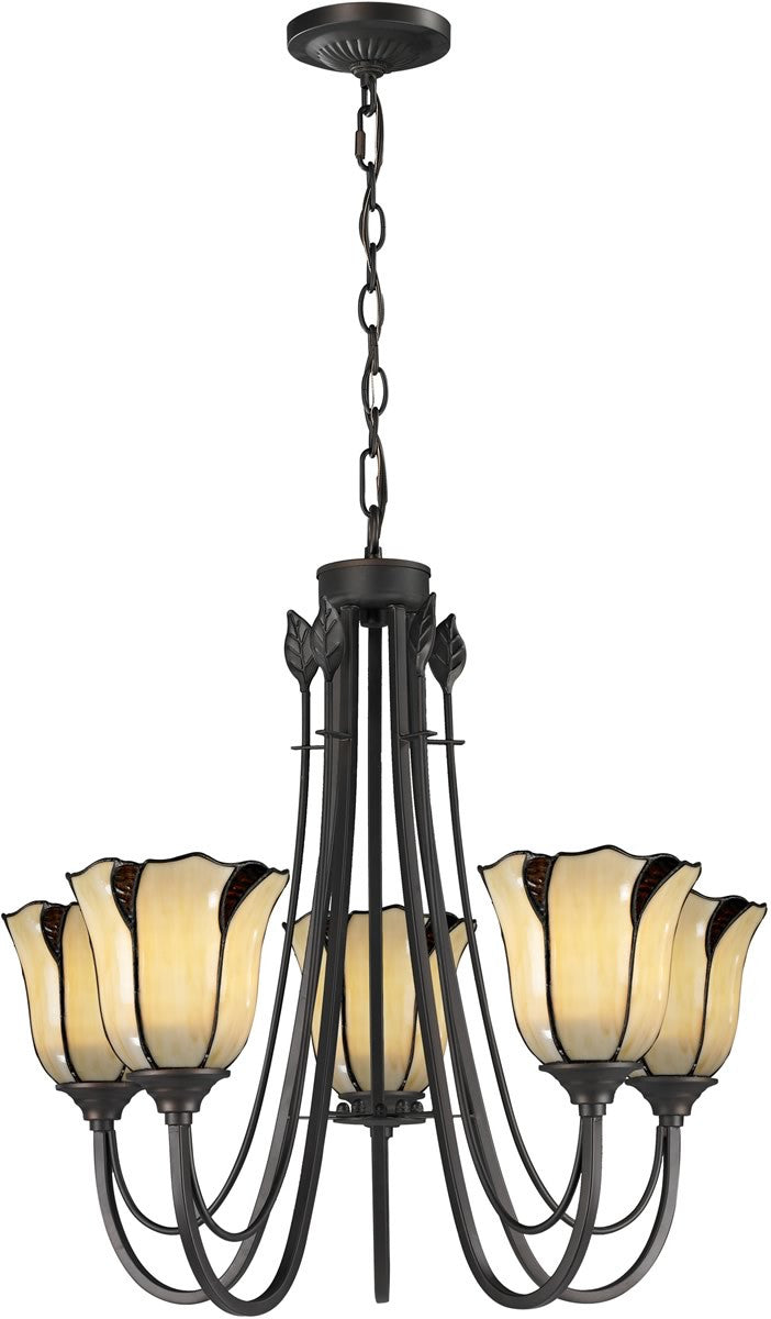 "22""W San Antonio 5-Light Pendant Dark Bronze"