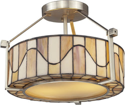 Dale Tiffany Sandfield 2-Light Semi Flush Fixture Satin Nickel TH12416