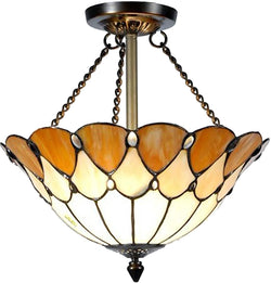 "14""w 2-Light Tiffany Mini Pendant Antique Bronze"