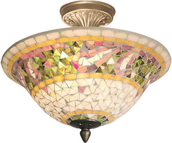 Dale Tiffany Bradshaw Mosaic Flush Mount Antique Brass Plating 87803LTF