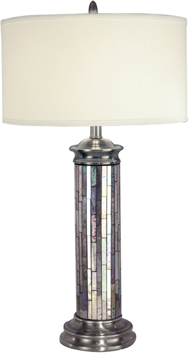 "29""H 1-Light Mosaic Table Lamp Antique Pewter"