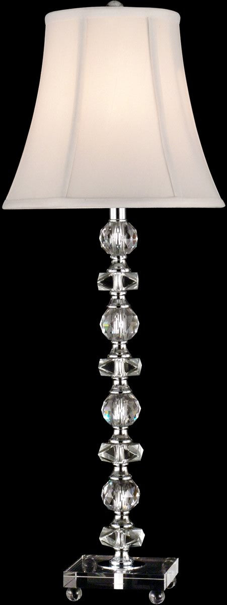 "29""H 1-Light Glass/Crystal Table Lamp Chrome"