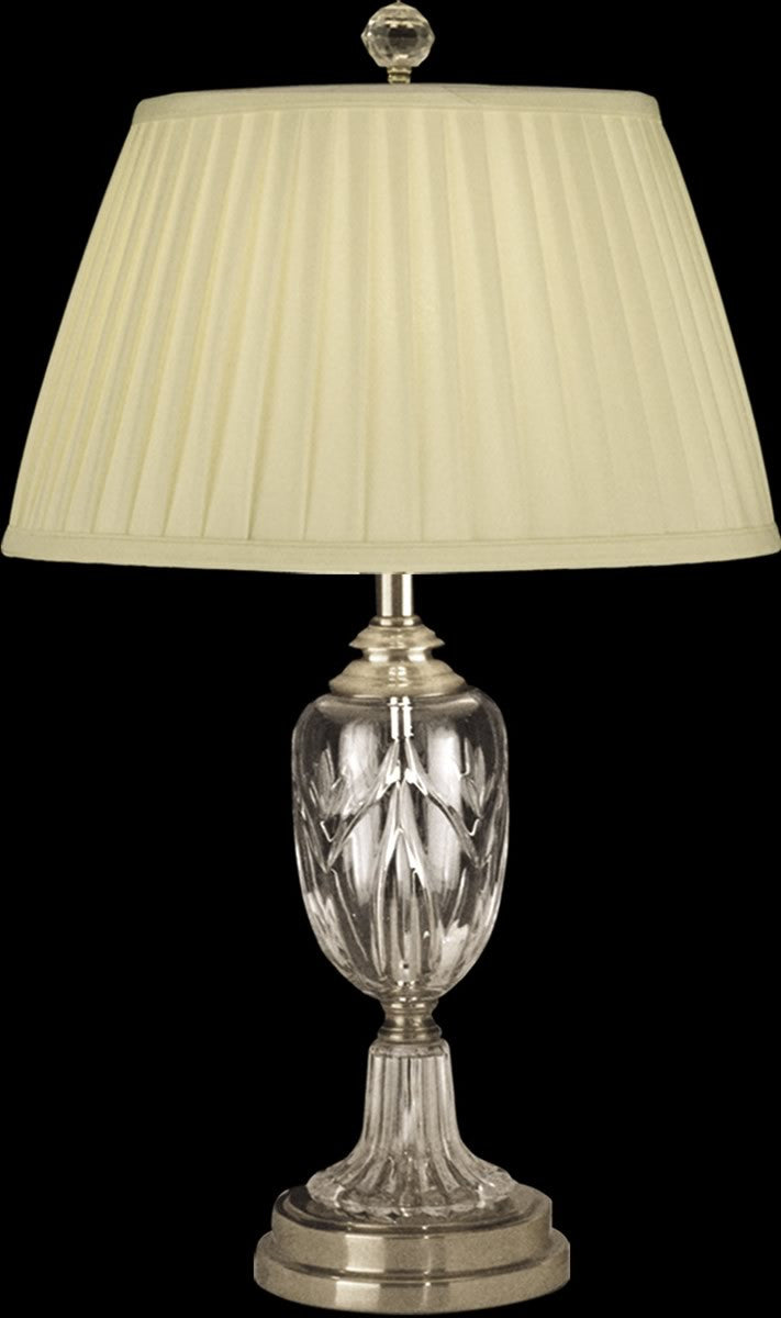 "26""H 1-Light 3-Way Glass/Crystal Table Lamp Light Antique Brass"