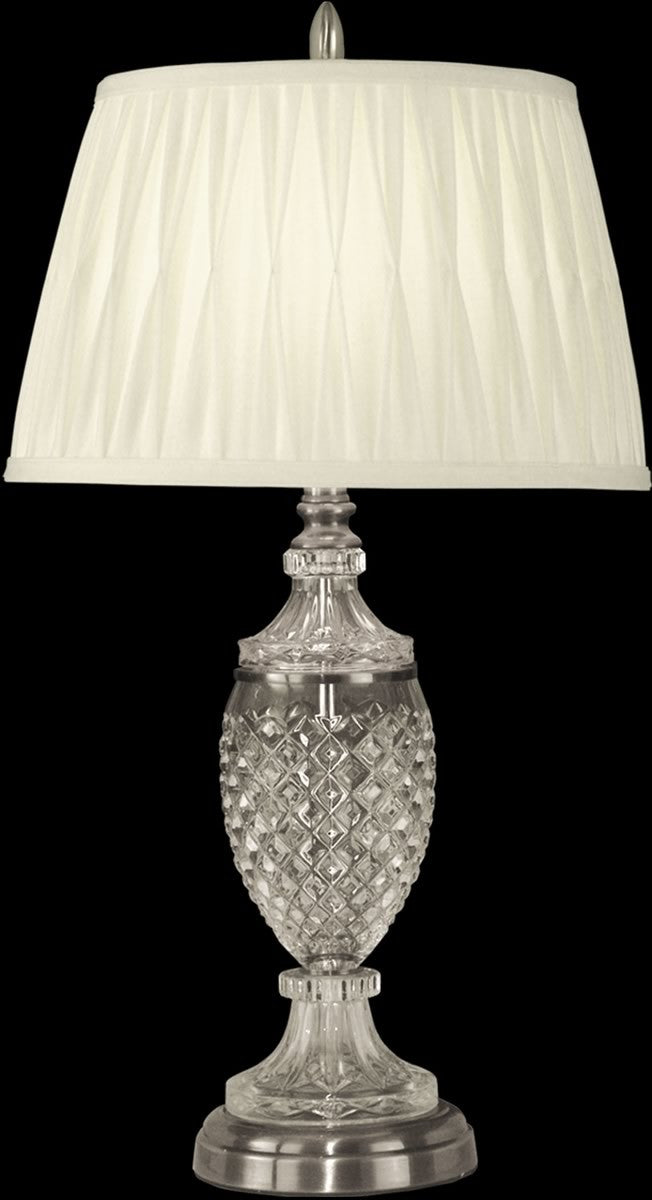 "27""H 1-Light 3-Way Glass/Crystal Table Lamp Antique Pewter"