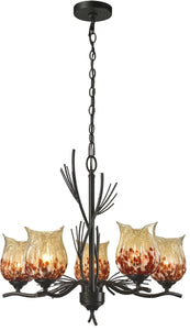 Dale Tiffany Spotted Art Glass Chandelier Antique Bronze AH14306