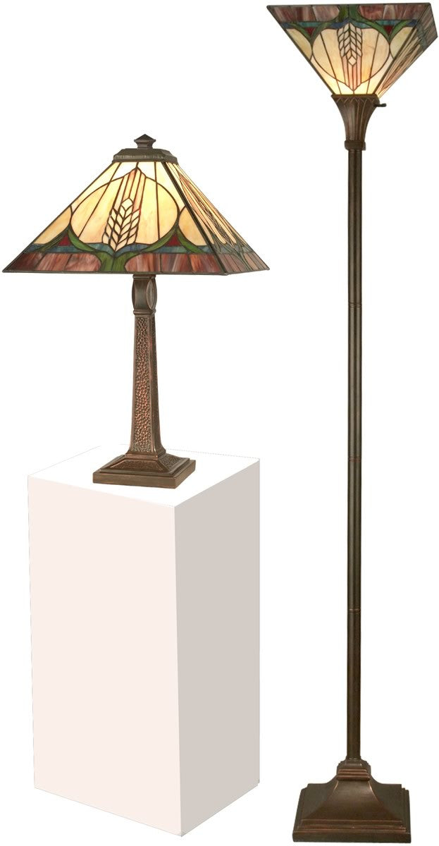 "1-Light Tiffany 22"" Table and 72"" Torchiere Set Lamp Antique Brown"