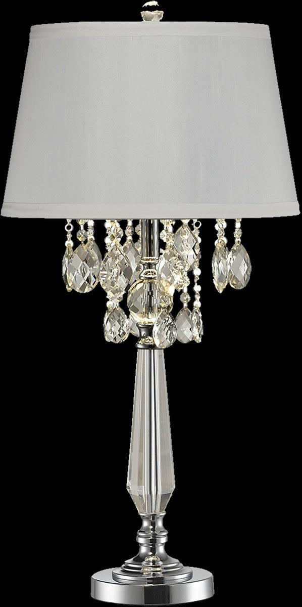 Static crystal table lamp polished chrome