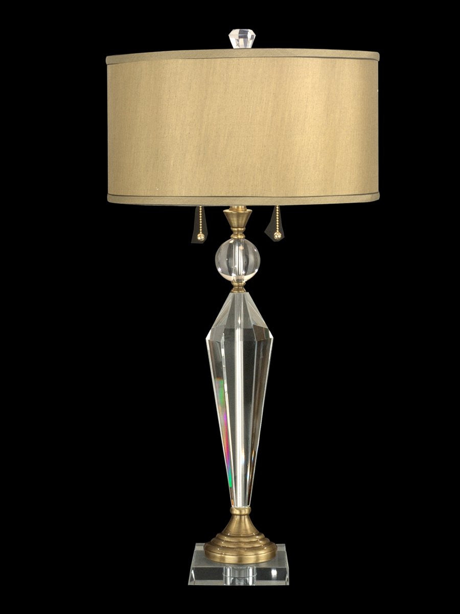 Strada 2-Light Crystal Table Lamp Antique Brass