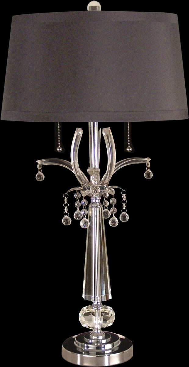 "32""h 2-Light Glass Table Lamp Polished Chrome"