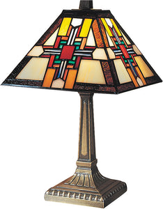 "15""h Morning Star Tiffany Table Lamp Antique Bronze"