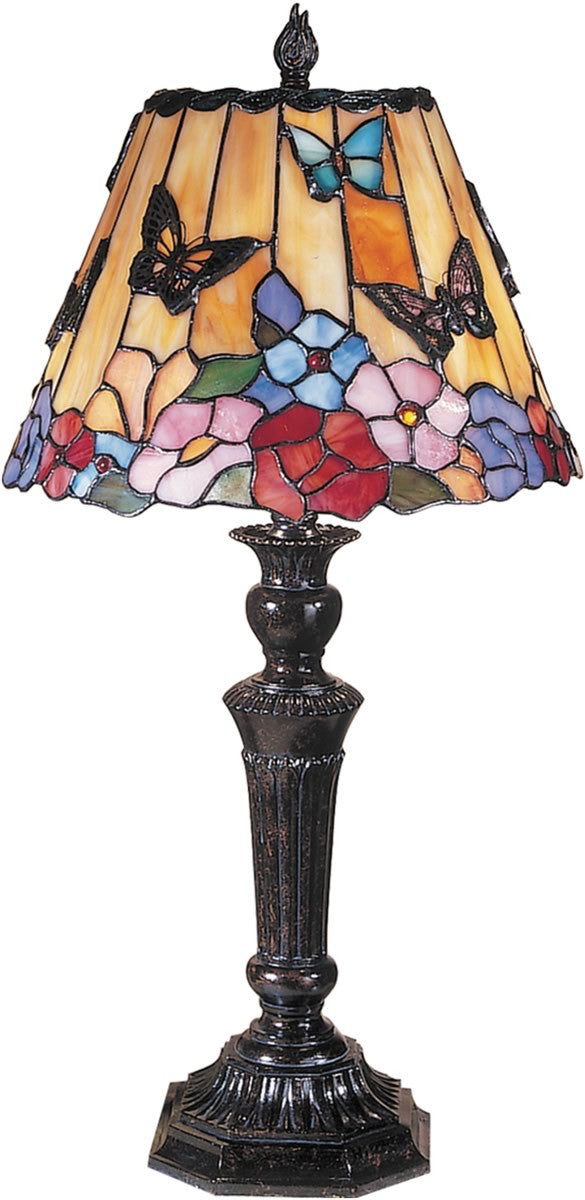 "24""h 2-Light Tiffany Table Lamp Fieldstone Butterflies and Flowers"