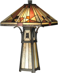 Dale Tiffany 2-Light Tiffany Table Lamp Black TT10792