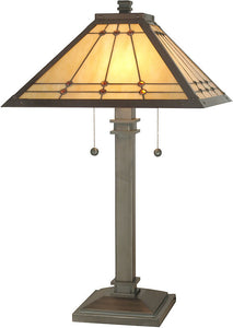 "26""h Jeweled Mission Table Lamp Antique Brass"