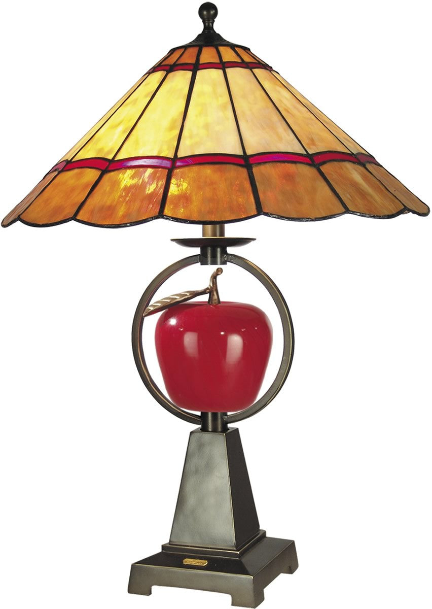 "26""h 1-Light 3-Way Tiffany Table Lamp Antique Brass"
