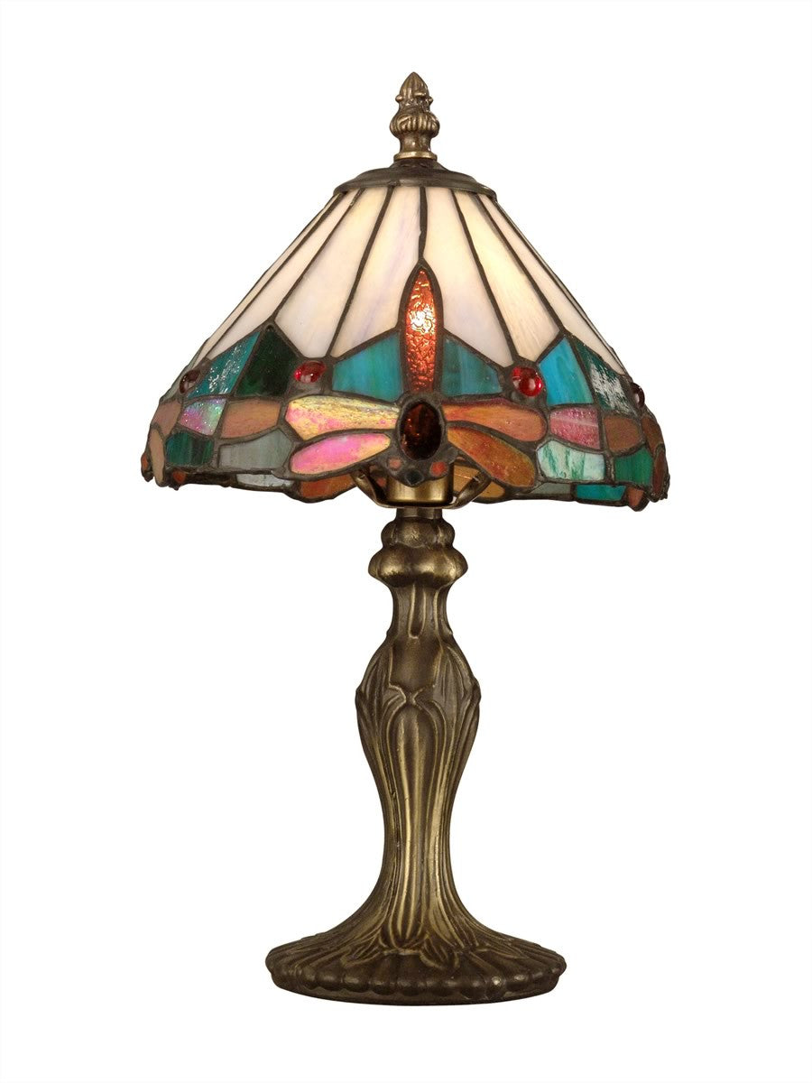 "14""h Dragonfly 1-Light Tiffany Accent Lamp Antique Brass"
