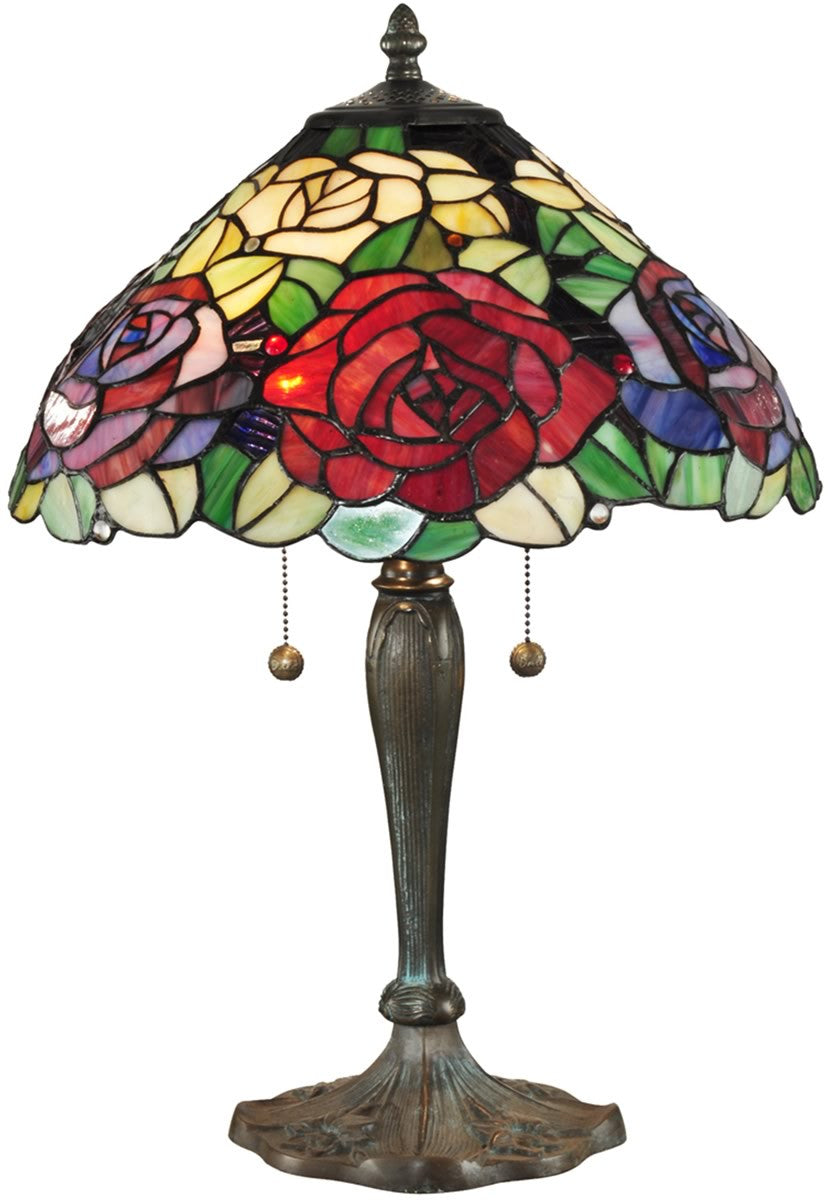 "23""H Tiffany Rose Tiffany Table Lamp Antique Bronze"