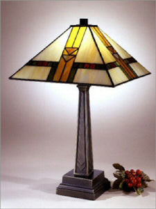 "21""h Tiffany Square Shade Mission Table Lamp Bronze"