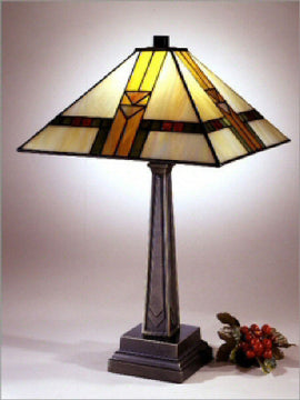 "22""H Tiffany Square Shade Mission Table Lamp Bronze"