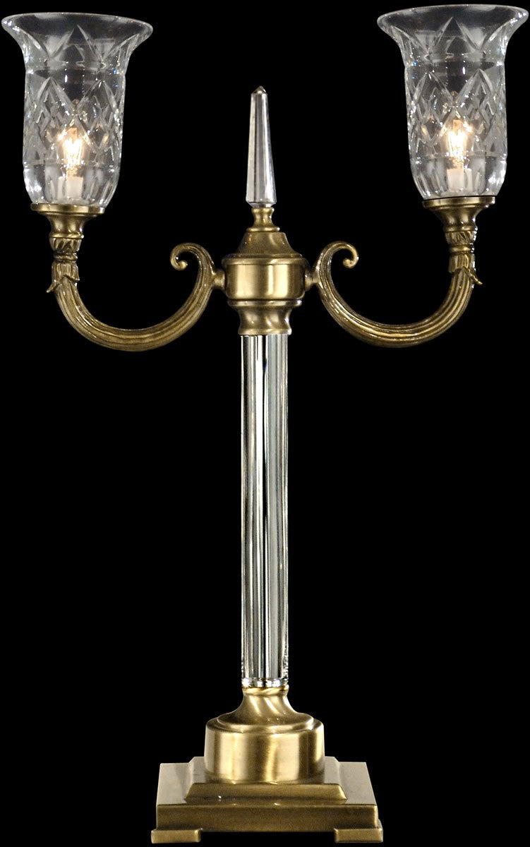 "23""H 2-Light Crystal Accent Lamp Antique Brass"