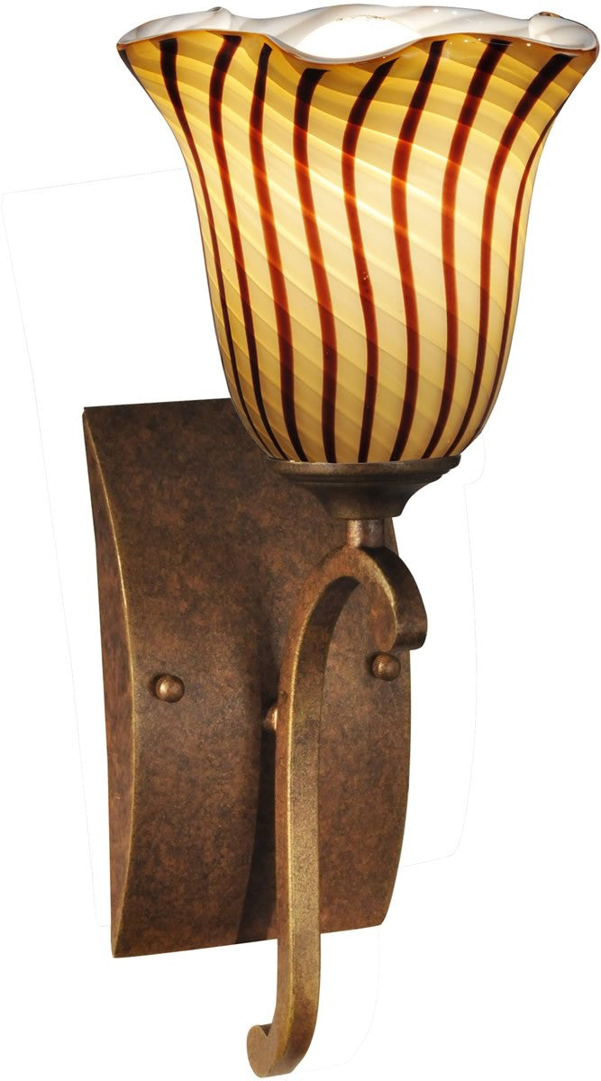 "6""W Valley Glen Art Glass Wall Sconce Antique Bronze"