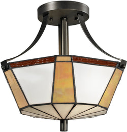"14""w Visalia 2-Light Semi Flush Fixture Dark Bronze"