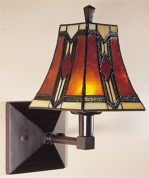 "9""w Kenelm Tiffany Art Glass/Mica Wall Sconce Mica/Bronze"