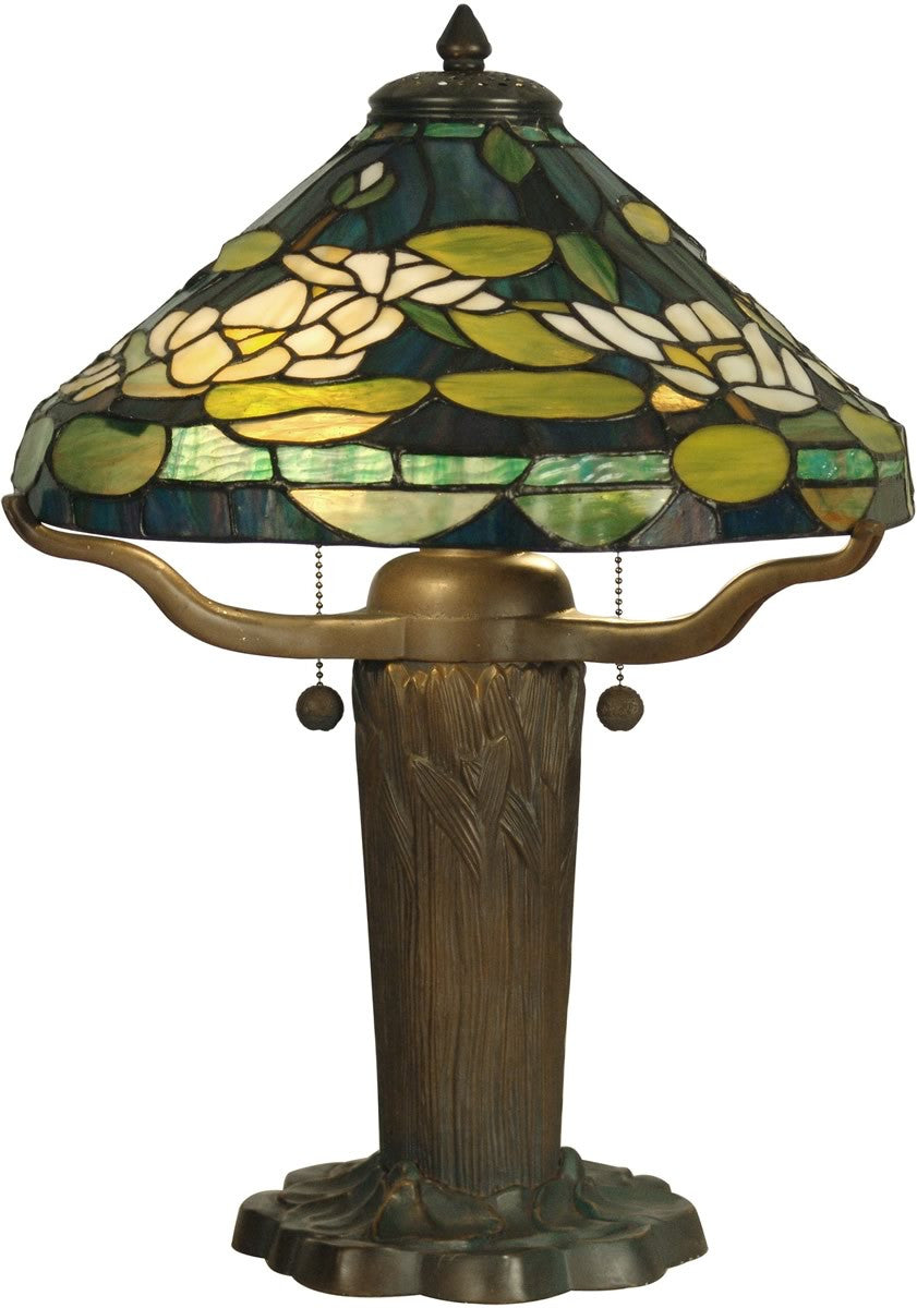 "20""h 2-Light Tiffany Table Lamp Dark Antique Bronze Verde Green"